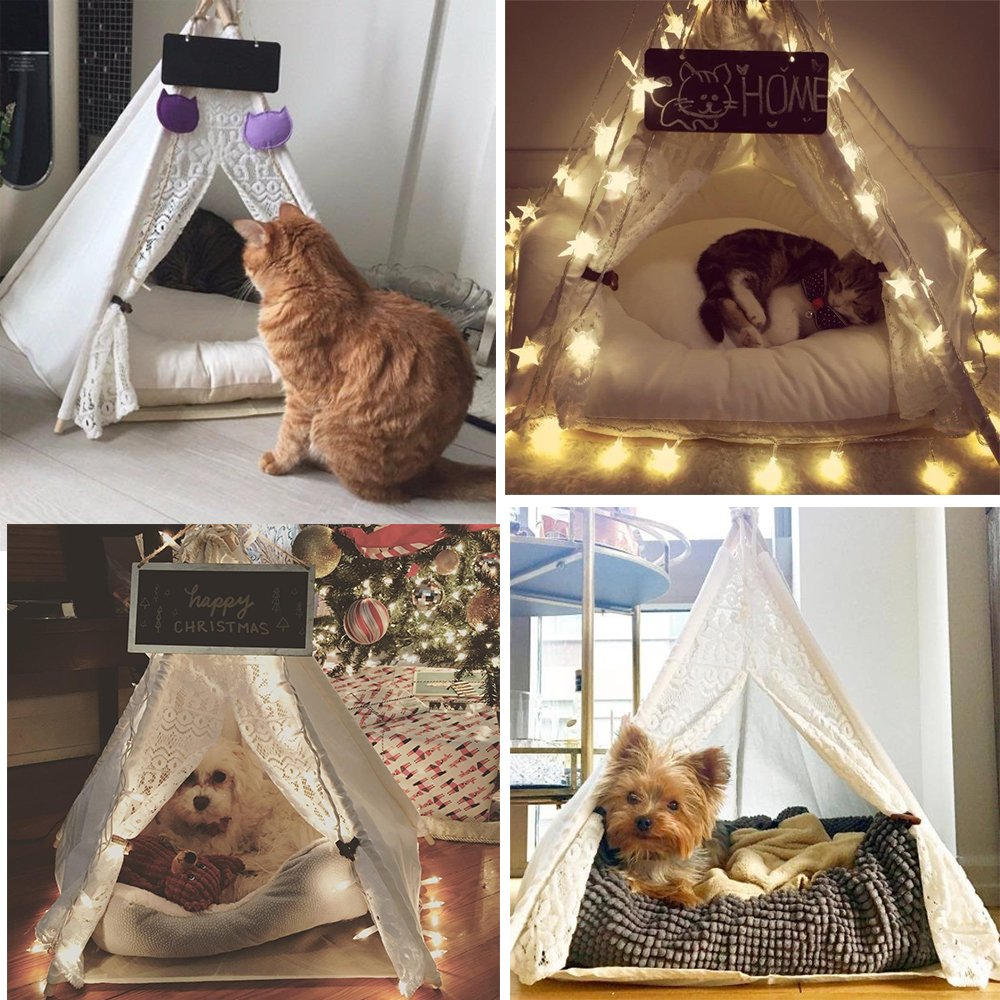 Dog Tent Pet Teepee Dog Cat Play House Portable Washable Pet Bed for Dog Cat Lace Style (Without Cushion) by DEWEL (Image #6)