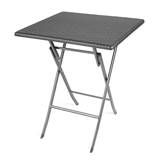 Rattan Effect Folding Table Small Blow Moulded Bistro Patio Outdoor Table