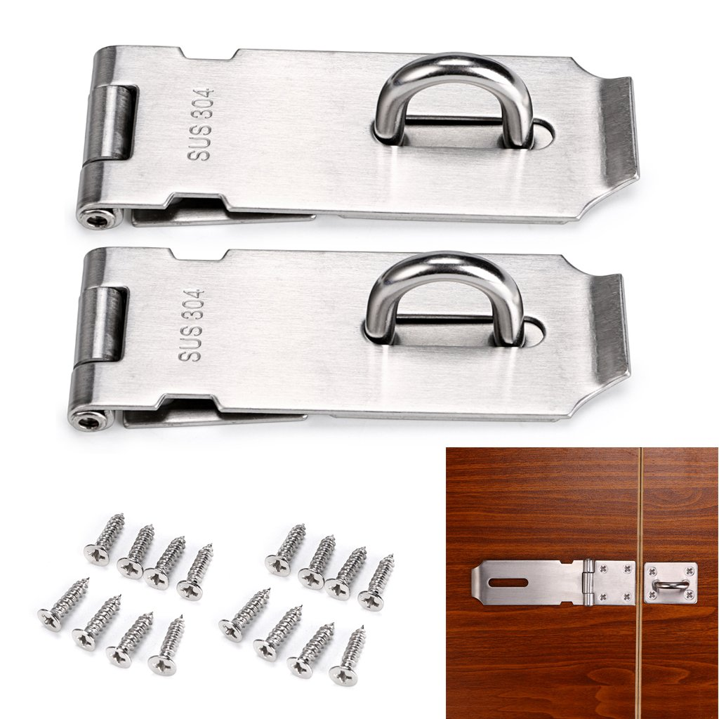 Sumnacon Safety Padlock Hasp Door Gate Clasp Lock, 2Pcs 4 Inch Stainless Steel Sturdy Gate Loop Latches With Screws For Furniture, Cabinet, Drawer, Cupboard and Closet Secure