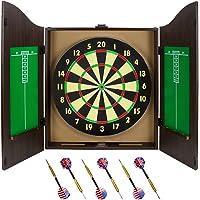 Triple Out dardos Nogal Dartboard Gabinete Set con 6latón dardos y la junta
