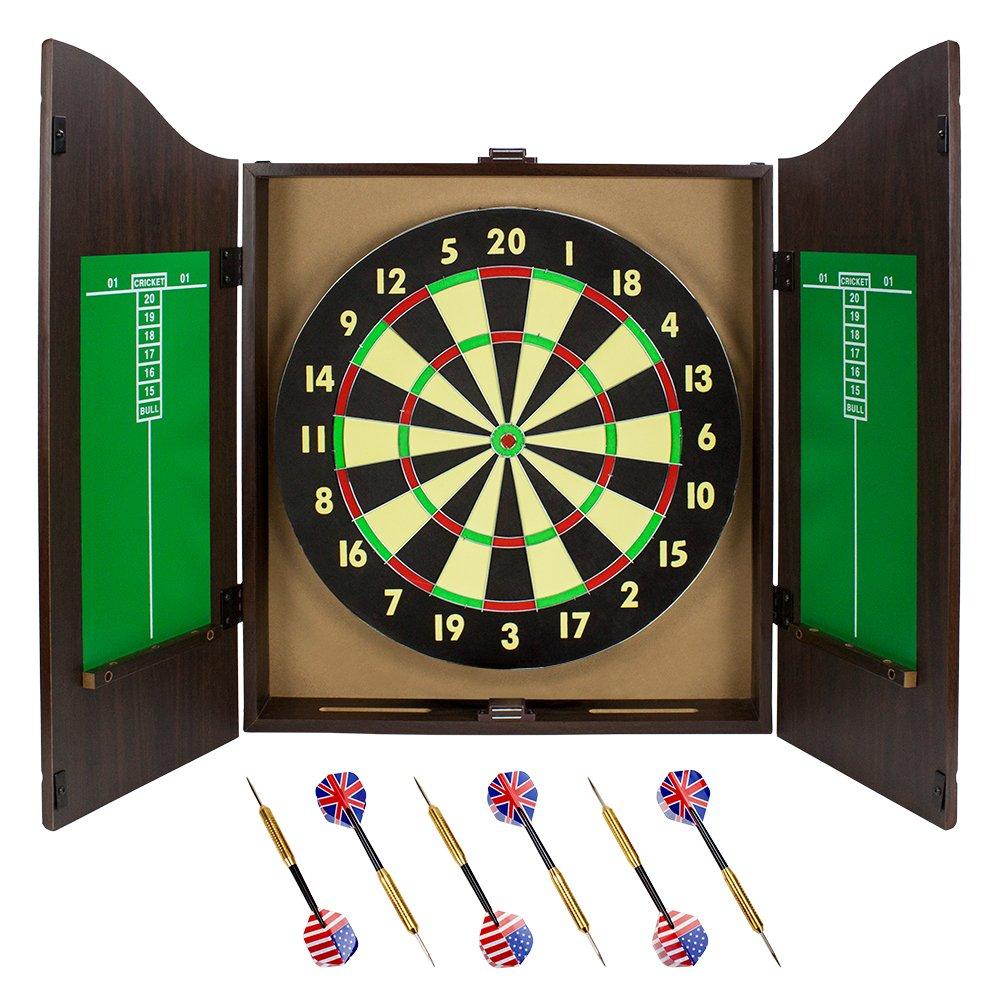 Triple Out Darts Walnut Dartboard Cabinet Set with 6 Brass Darts and Board
