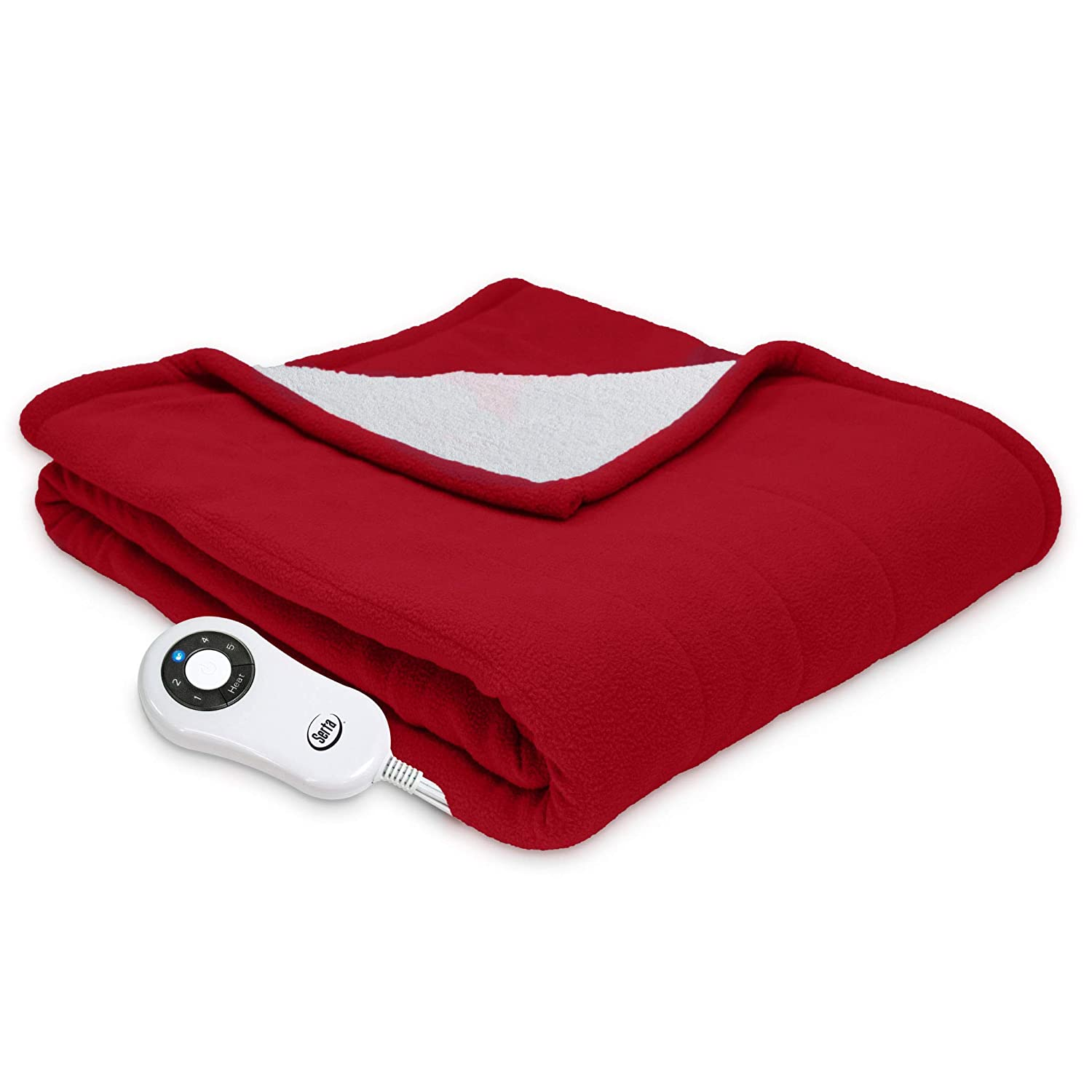 "Serta | Reversible Sherpa/Fleece Heated Electric Throw Blanket, 50""x60"" With 5 Setting Controller, Red Pepper"