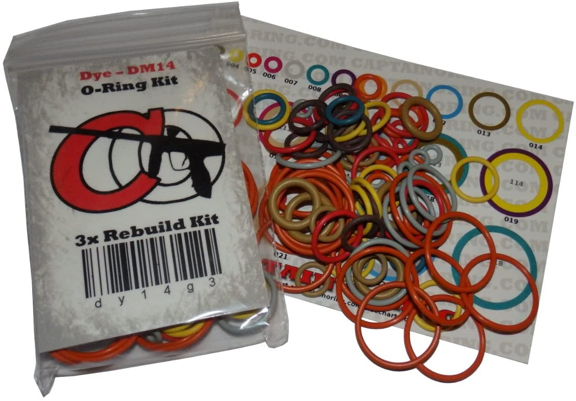 Captain O-Ring Tippmann 98, A5, X7, FT-12, Gryphon, Triumph, US Army - Color Coded 3X Oring Rebuild Kit