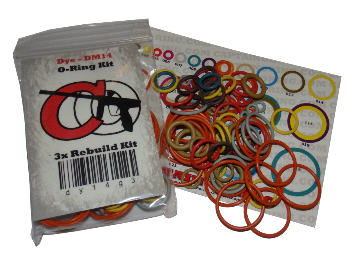 Dye DM12 / DM13 - Color Coded 3x Oring Rebuild Kit by Captain O-Ring LLC