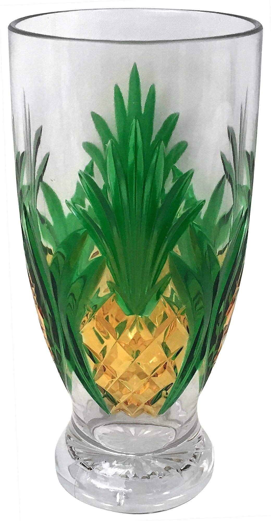 Coastal Home Bamboo Breeze Etched Pineapple Highball Glass One Size Yellow/green