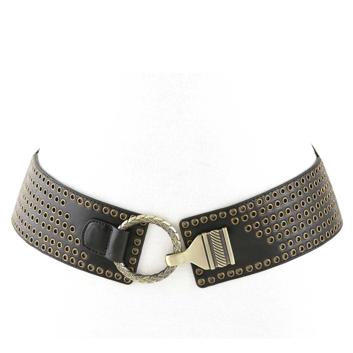 Women's Custom Circle Designed Closure Elastic Stretch Belt with Quality Grom...