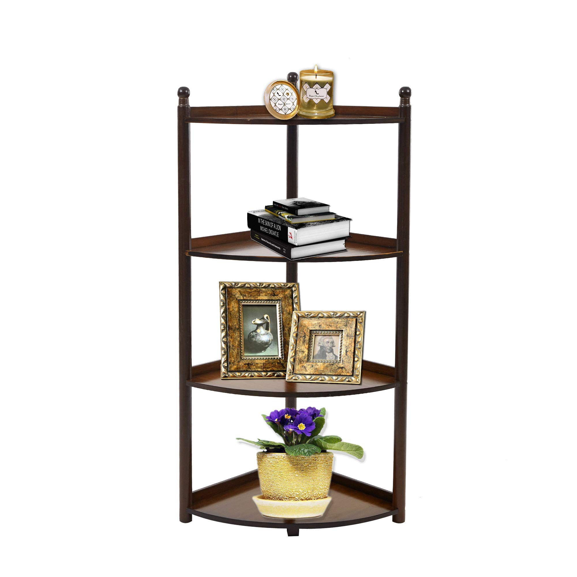 Dporticus 4 Tier Bamboo Wall Corner Shelf Display Stand Freestanding Modular Shelving Bookcase Shelf Home Furniture Cherry 39 Inch