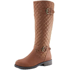 Women's DailyShoes Quilted Round toe Knee High Combat Rider Boot Mid Calf with Side Pocket, 6.5