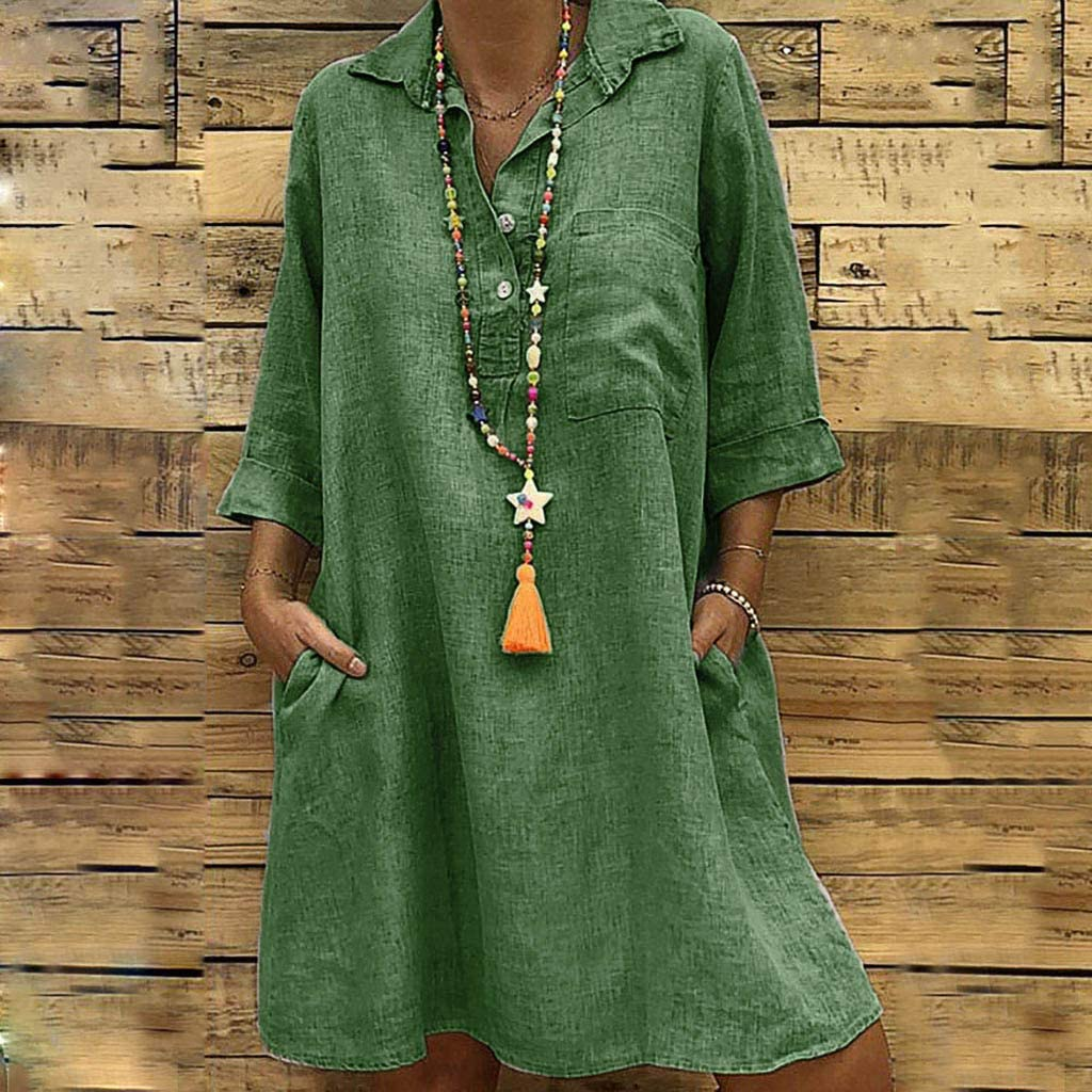 Womens Solid Vintage Dress Boho Turn-Down Collar Loose Sundress Casual Pocket Button Dresses Seaintheson Womens Dress