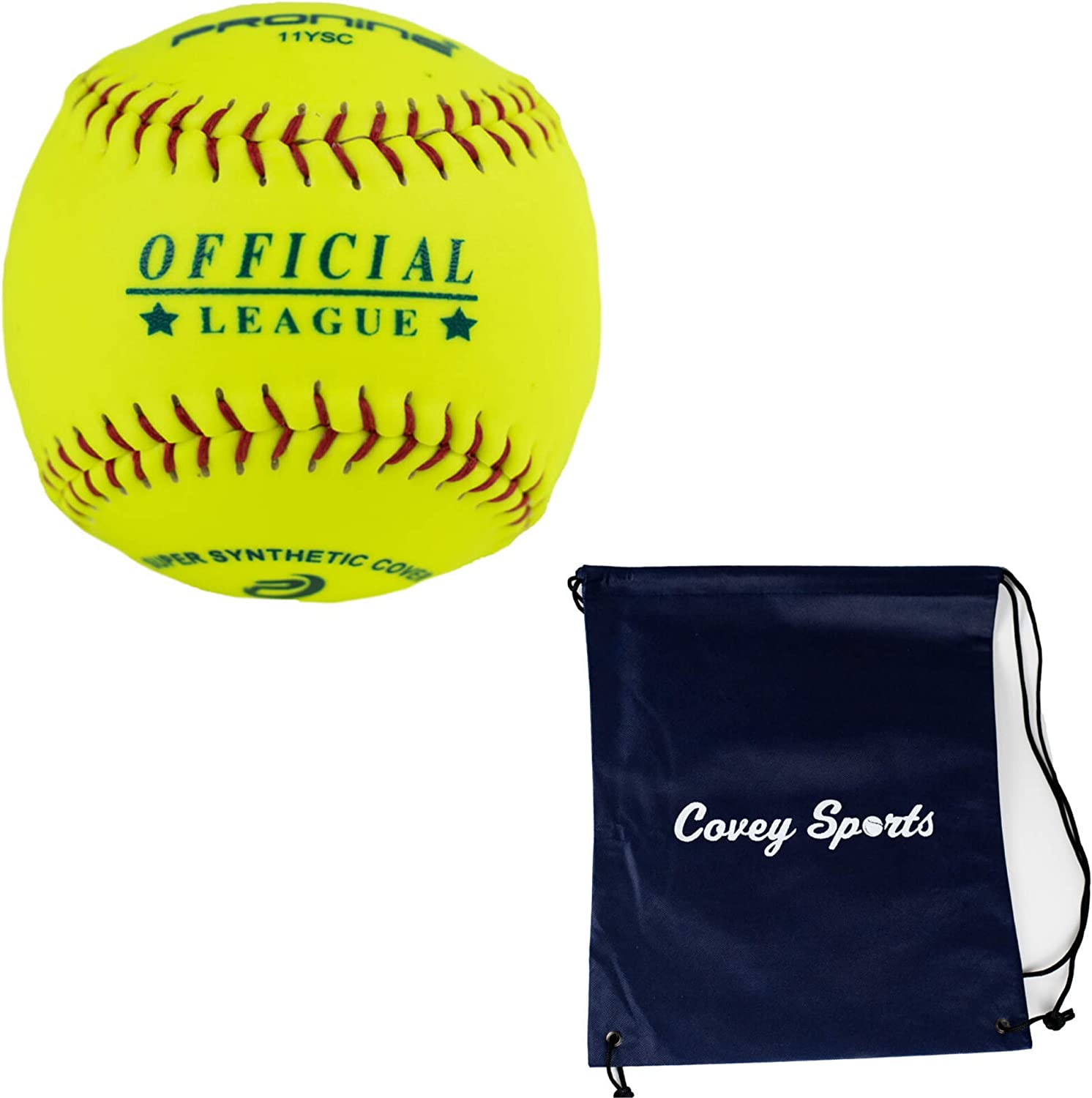 ProNine 11 Inch Soft Core Softball Balls - (Multi-Packs) - 10U Youth Indoor Outdoor Softballs Bundled with Covey Sports Bag