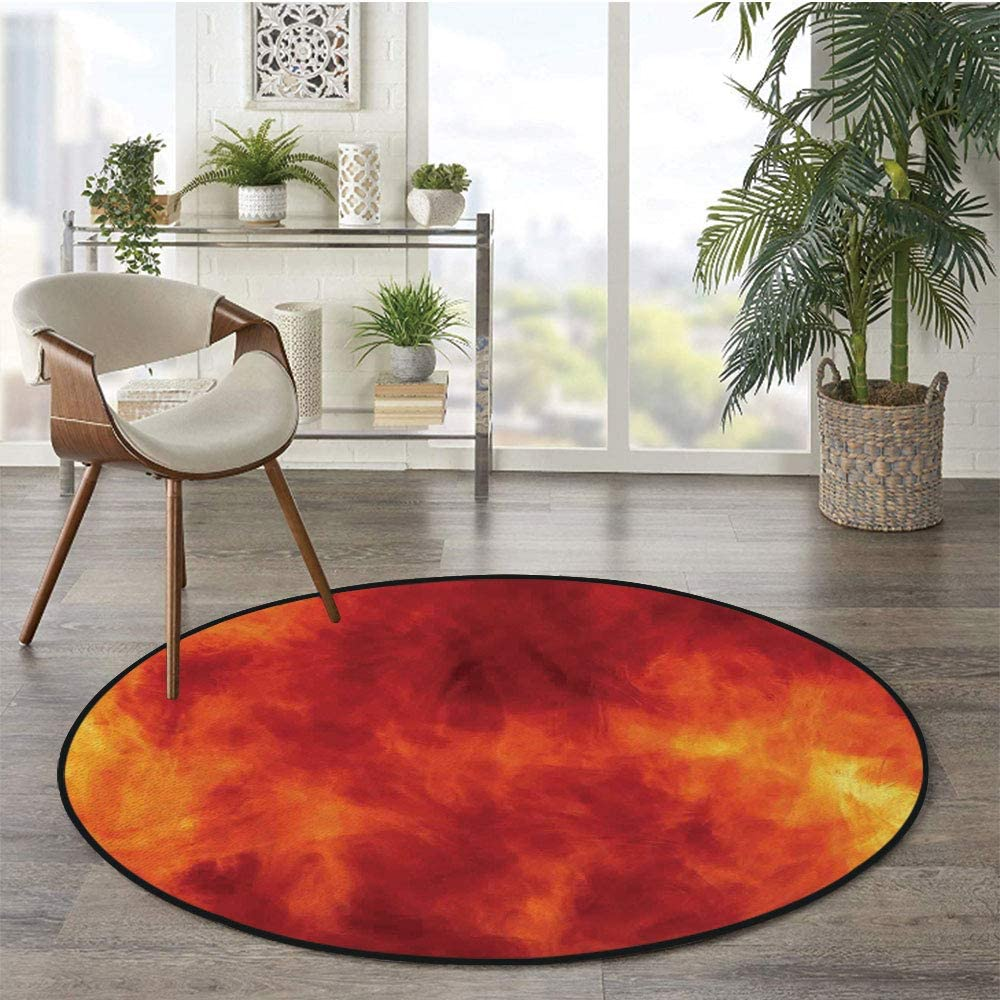 36 x 72 Half Round Door Mat,Light Sunrise Horizon Over The Sea Waves Smooth Still Calm Water Imaginary Travel Photo Outdoor//Indoor Entry Rug,for Home Kitchen Office Standing Desk Mats,Blur Orange