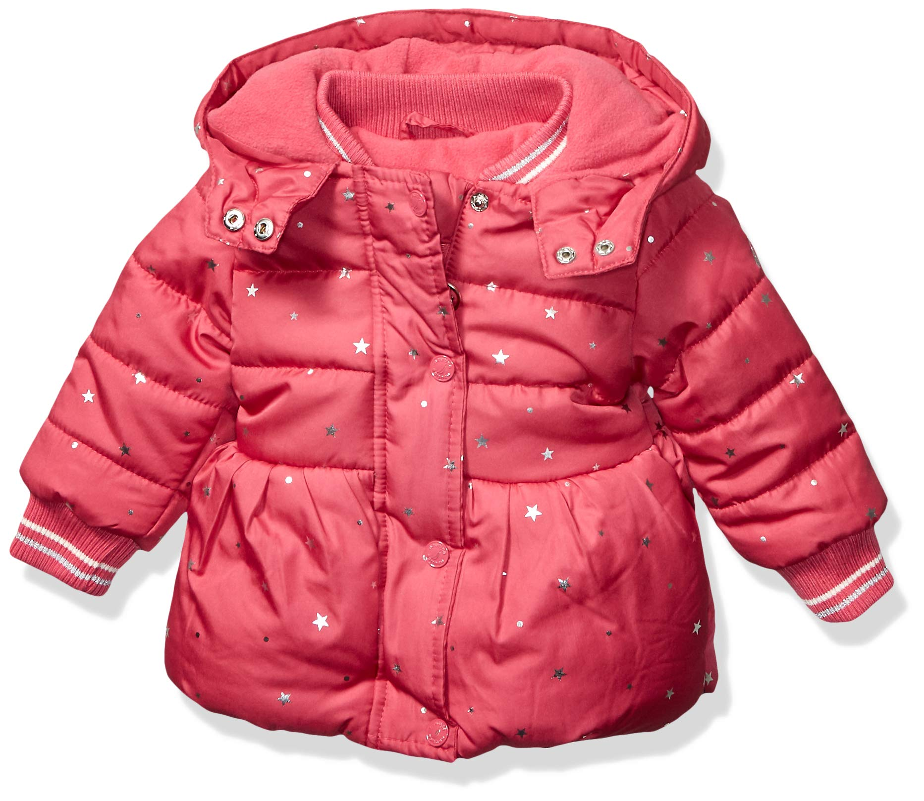 Nautica Baby Girls Printed Puffer Coat with Removable Hood, Dark Pink, 24 Months by Nautica