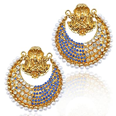 60548cd5d8e3e Buy Ram leela South India ADIVA pearl Goddess blue pearl polki ...