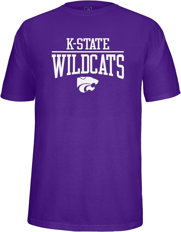 Purple Medium NCAA Kansas State Wildcats Adult School Name Over Logo Choice Tee