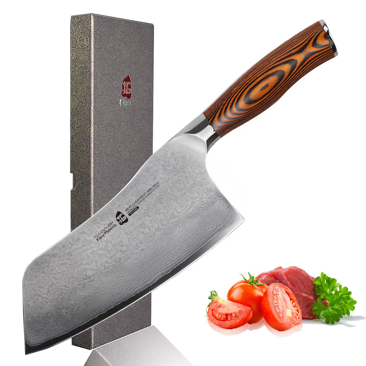 TUO Cutlery Cleaver Knife - Japanese AUS-10 67-Layers Damascus Steel - Chinese Chef's Knife For Meat And Vegetable With Ergonomic Pakkawood Handle - 7'' - Fiery Series