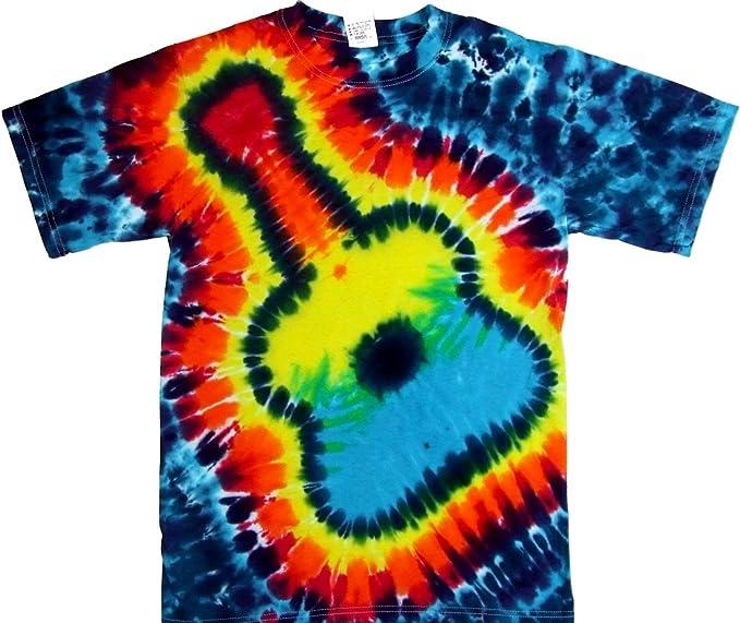 super qualità stile classico del 2019 vendita a buon mercato nel Regno Unito Amazon.com: Tie Dyed Shop Rainbow Guitar Tie Dye Shirt for Men ...