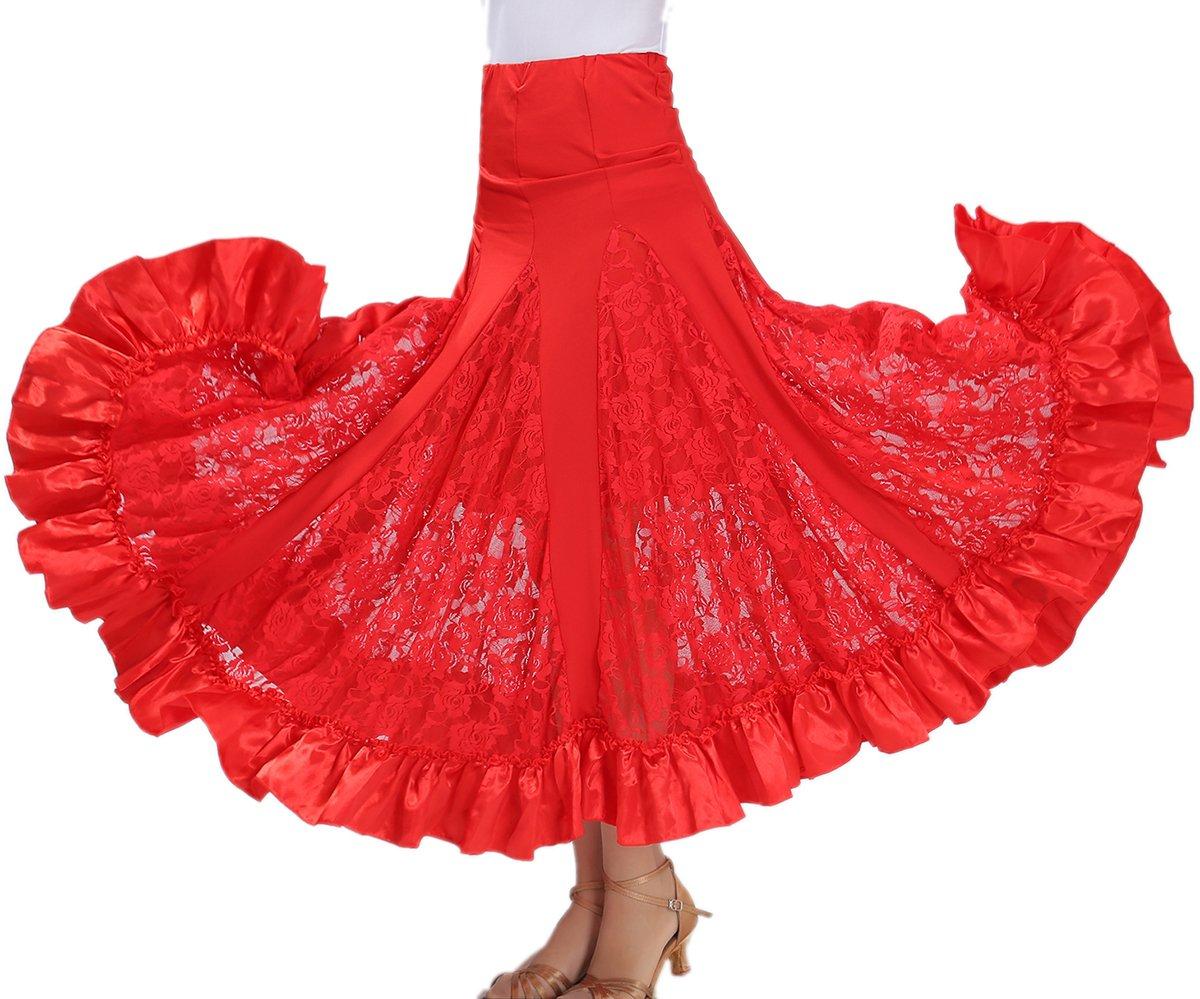 Whitewed Long Praise Ballroom Waltz Dance America Dancewear Circle Practice Skirts Outfit