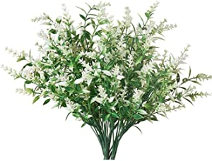 Artificial Lavender Flowers Indoor Outdoor Fake Flowers Silk Flowers Fake Shrubs Greenery Bushes Bouquet for Home Décor,Garden, Lifelike UV Resistant Faux Plastic Bouquet Plants 10 Bundles (White)