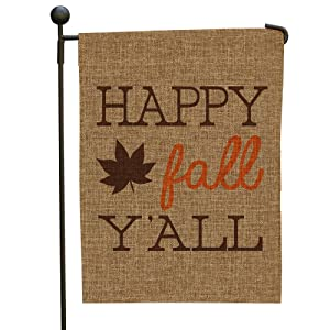 GiftsForYouNow Happy Fall Y'all Burlap Garden Flag, 12x18, Polyester