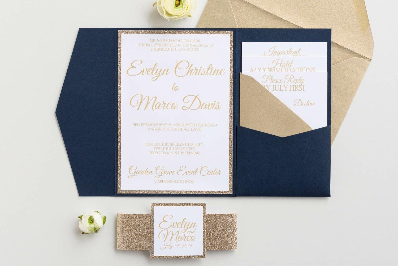 Amazon.com: Custom Glitter Pocket Folder Wedding Invitation with ...