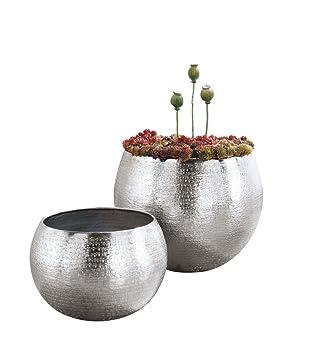 Exceptional Set Of 2 Indoor Plant Pots, Aluminium, Silver