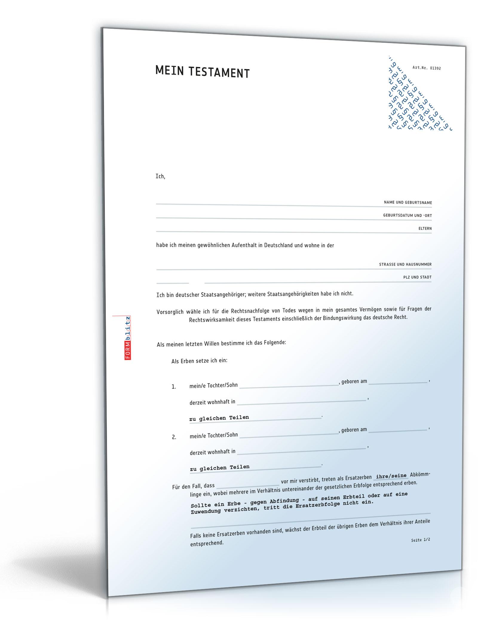 Vorlagen Paket Testamente Zip Ordner Download Amazonde Software