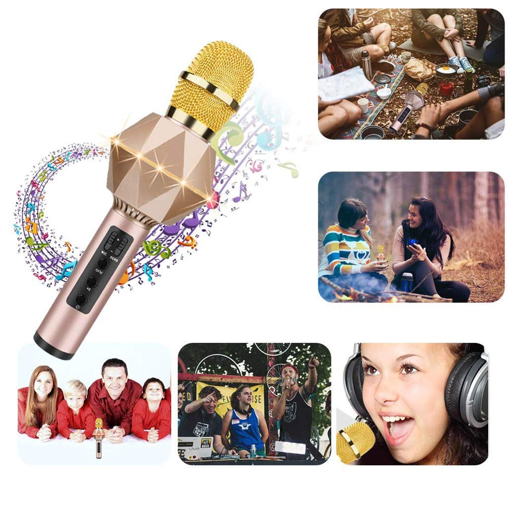 Rsiosle Wireless Bluetooth Karaoke Microphone for Kids Karaoke Machine with Speaker, LED Light, Magic Voice, Compatible with Android iOS PC for Home KTV Kids Outdoor Birthday Party (Color : Gold) by Rsiosle (Image #3)