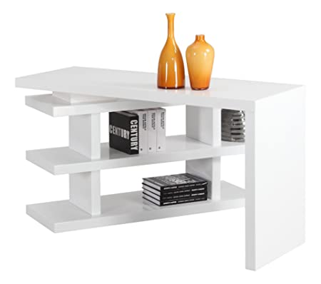 Chintaly Imports 6915 Motion Home Office Desk, White