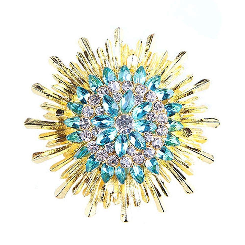 Wedding Brooch Sapphire and Diamond Flower Brooch Women's Clothing Accessories Alloy Brooch