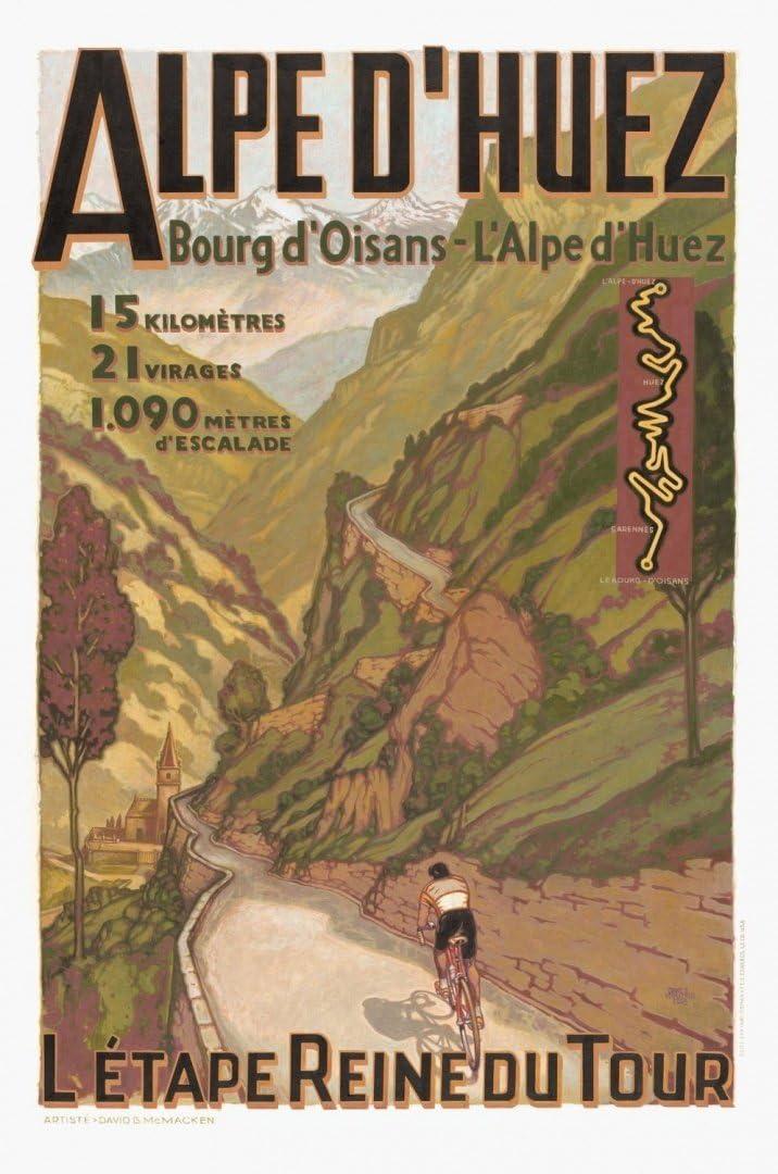 Poster World Alpes dHuez Viajes Vintage/Tour de France Afiche .Various Tallas - Tamaño A3 29 x 42 cm