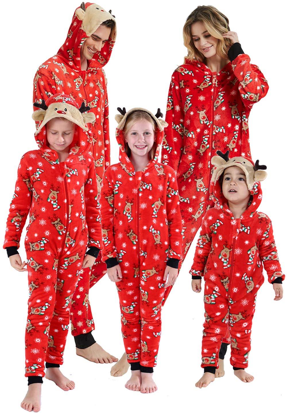 Family Christmas Pajamas Matching Sets Printed Long Sleeve One-Piece Hooded Sleepwear Jumpsuit Loungewear Red