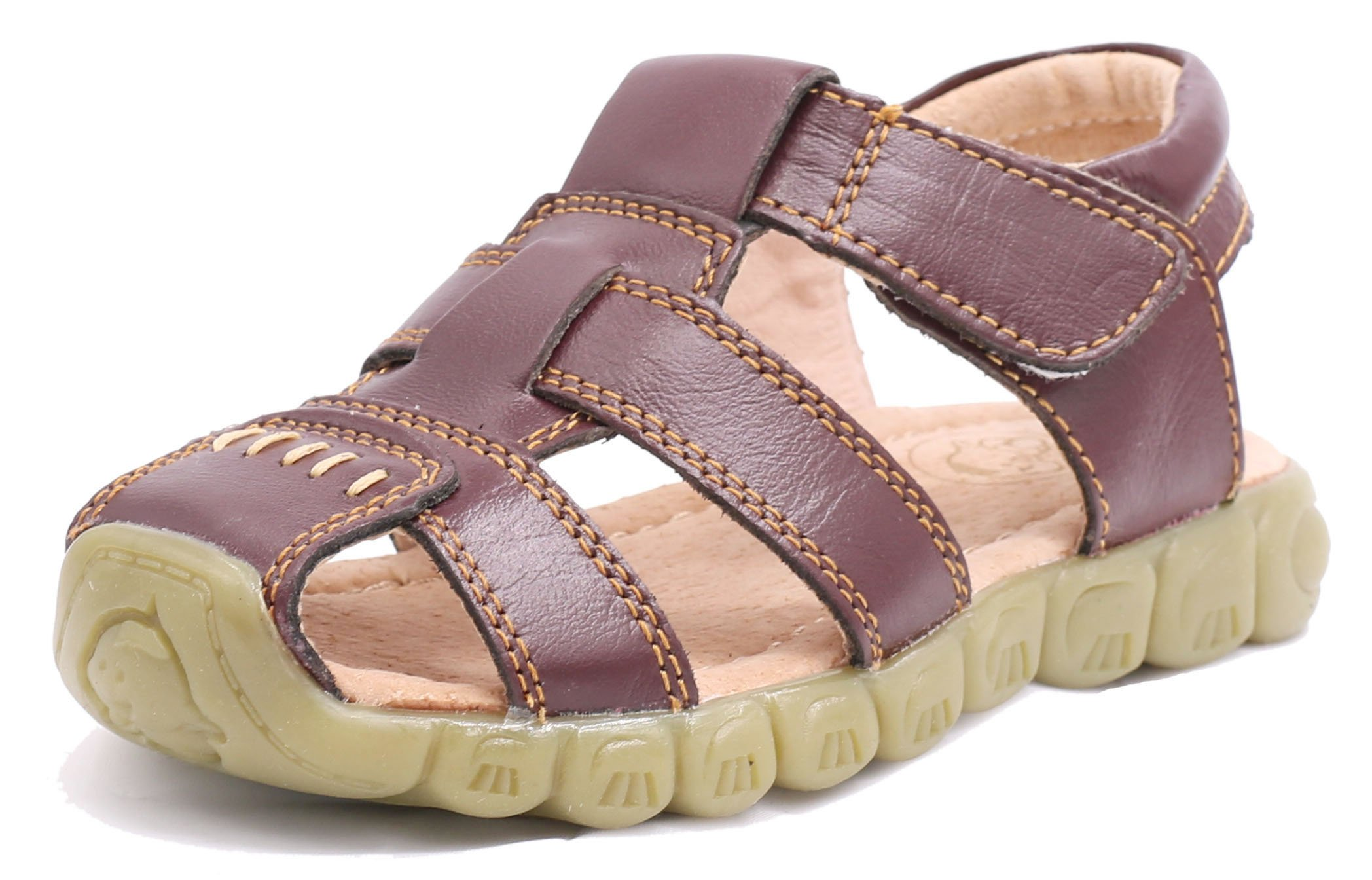 Femizee Closed-Toe Casual Outdoor Sandals Boys Girls(Toddler/Little Kid/Big Kid),Brown,1203 CN23