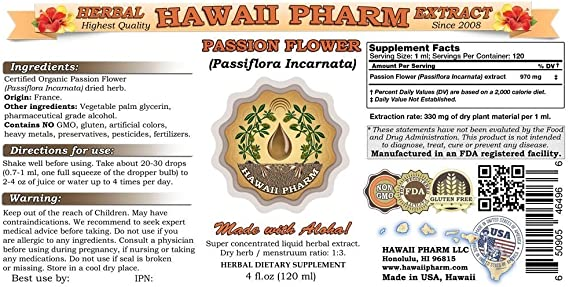 Amazon Com Passion Flower Liquid Extract Organic Passion Flower Passiflora Incarnata Tincture 4 Oz Health Personal Care