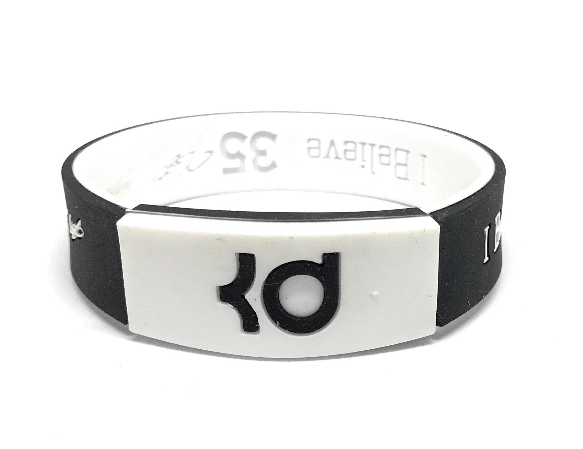 SportsBraceletsPro KIDS REVERSIBLE Wristband SIZE 6.7'' Bracelet (Durant KIDS 6.7'' Black/White)