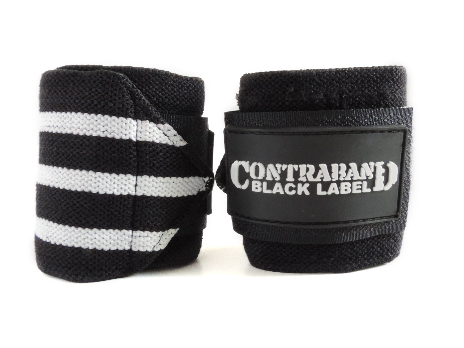 Contraband Black Label 1001 Weight Lifting Wrist Wraps w/Thumb Loops (Pair) - Competition Grade Wrist Support USPA Approved for Powerlifting, Bodybuilding, Strongman (18in, Medium (White))