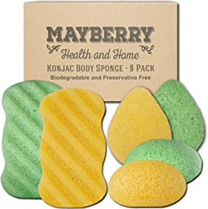 Konjac Body Sponge (6 Pack) Individually Wrapped Multi-Pack Turmeric (Yellow) and Green Tea (Green) Konjac Sponges for Soft and Gentle Cleansing