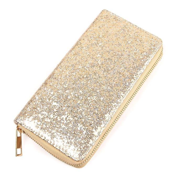 RIAH FASHION Rainbow Glitter Zip Around Wallet
