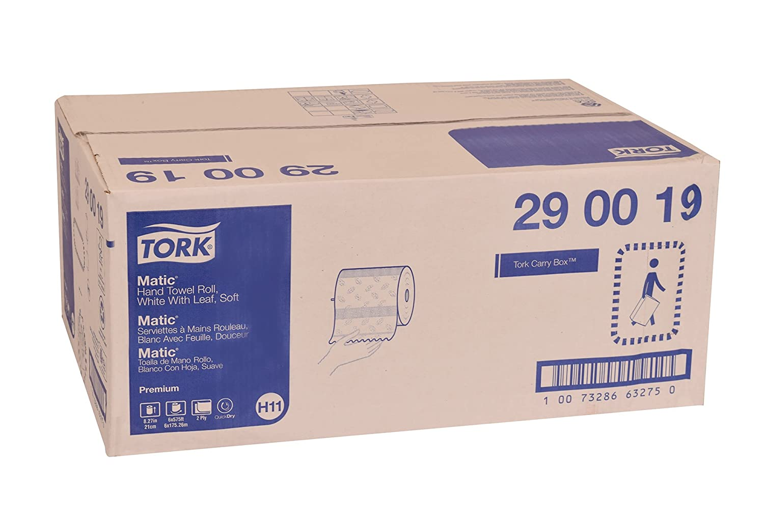 Tork 290019 Premium Soft Matic Paper Hand Towel Roll, 2-Ply, 8.27