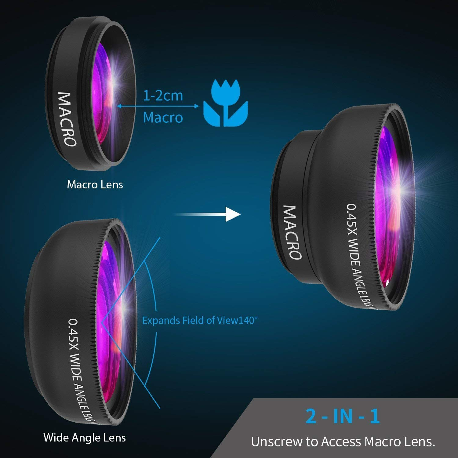 iPhone Camera Lens 0 45X Super Wide Angle Lens & 12 5X Macro Lens 2 in 1  Professional HD Cell Phone Camera Lens Kit for iPhone X 8 7 6S 6S Plus 6 5S