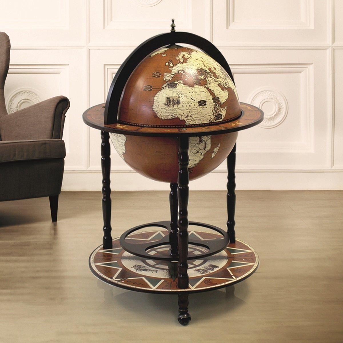 en forme de globe boissons Cabinet Mini Barre de chariot rétro Alcool Booze - Bois dense - Taille L