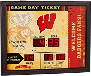Team Sports America NCAA Bluetooth Scoreboard Wall Clock, Wisconsin-Madison Badgers