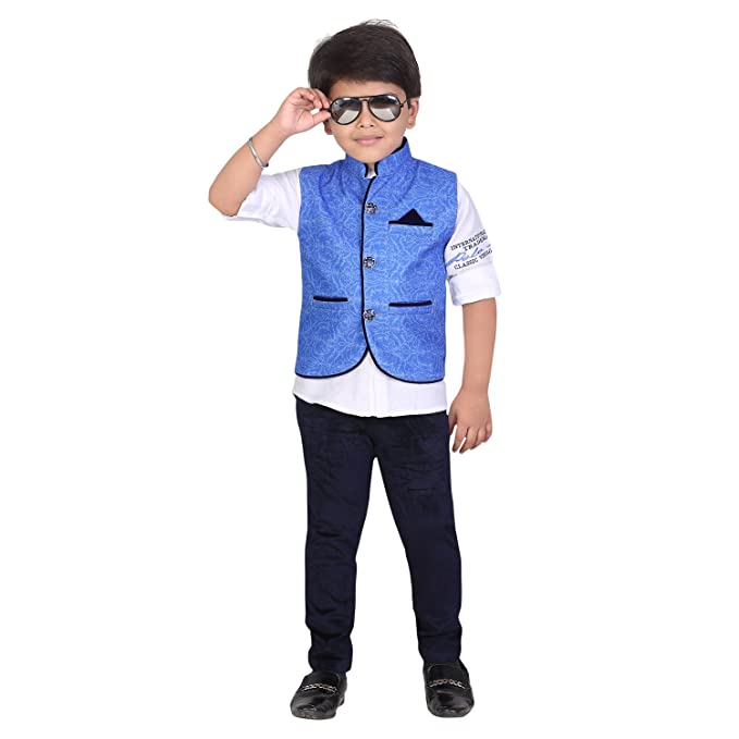 963296543a50 V Kids Boy's Printed Jacket with White Cotton Shirt and Velvet Pant:  Amazon.in: Clothing & Accessories