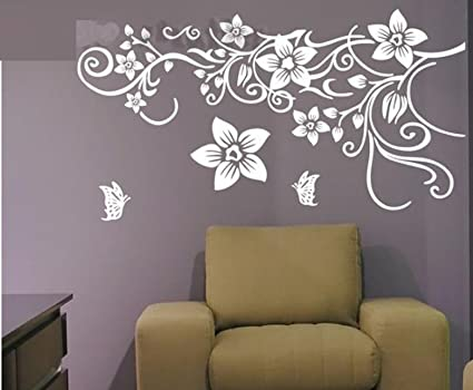 f3a73d86a9e Buy Flower Vine Wall Decal Sticker Living Room Stickers Vinyl Removable  Wide 150cm High 80cm White Color Online at Low Prices in India - Amazon.in