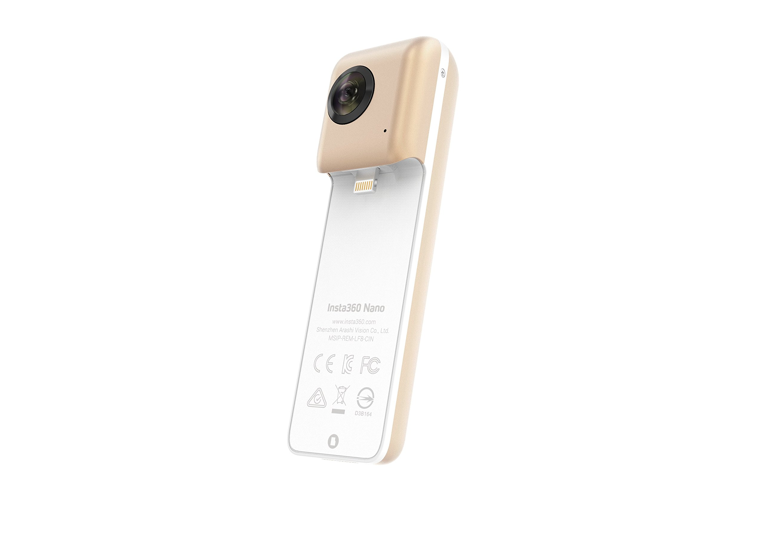 Insta360 Nano 360 Degree Camera VR 3D Panoramic Point and Shoot Digital Video Cameras 3K HD Dual Wide Angle Fisheye Lens for iPhone 7, 7 Plus and All iPhone 6 Series, 360 Live on Facebook by Insta360