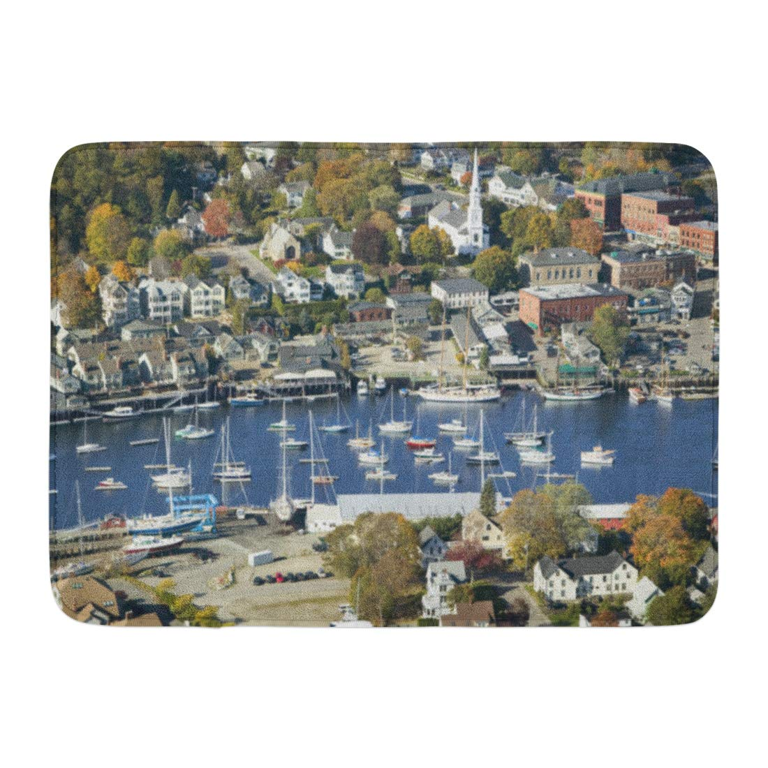 Emvency Bath Mat States USA Aerial View of Bar Harbor in Autumn Maine Coast United Bathroom Decor Rug 16'' x 24''
