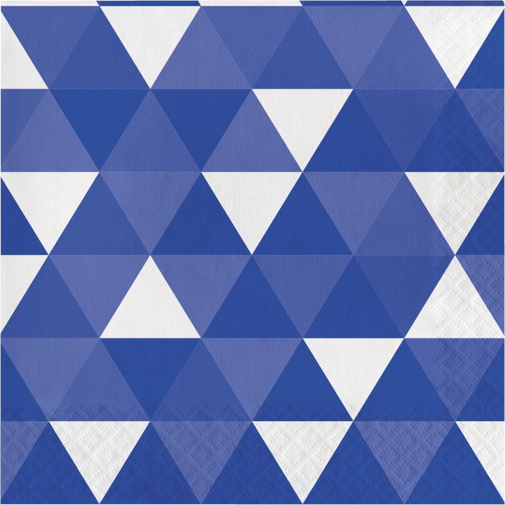 Creative Converting 319976 192 Count Lunch Paper Napkins, Fractal Cobalt