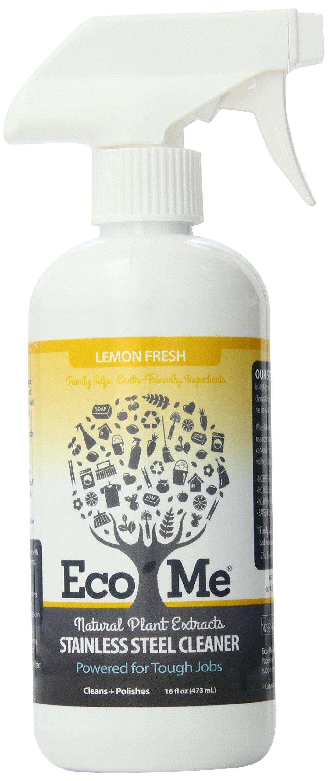 Eco-Me Natural Stainless Steel Cleaner, Lemon Fresh, 16 Fluid Ounce
