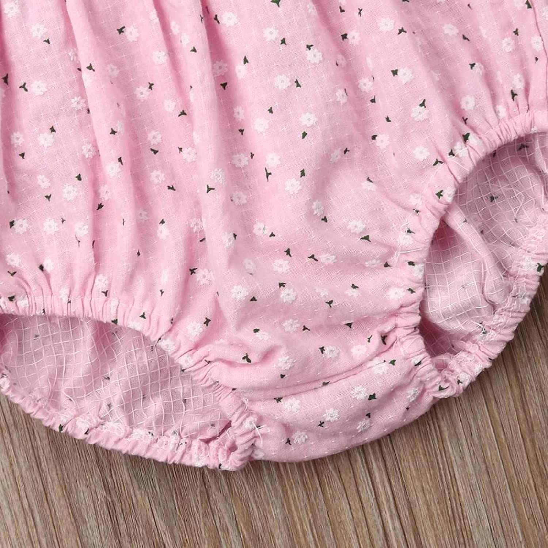 Newborn Infant Girl Floral Backless Strap Romper Tassels Bodysuit with Headband