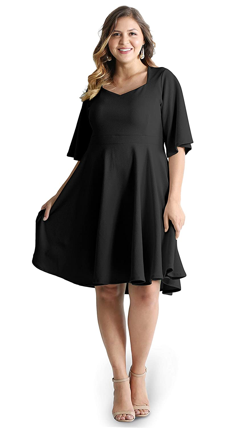 Womens Plus Size Cocktail Party Wedding Fit Flare Dresses Made