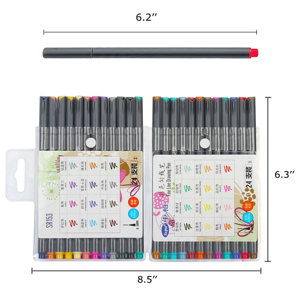 Soucolor Fineliner Pens Coloured Set Fine Point 0.38mm in 24 Assorted Colours No Duplicates for Bullet Journal Artists Fine-Ink Drawings and Adult Colouring Books (24 Fineliner Pens)
